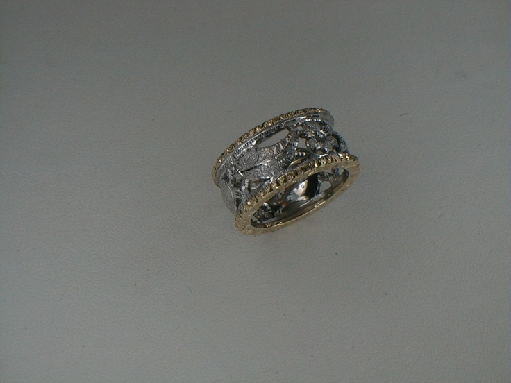 """Yellow & White engraved Gold """"FIORENZA"""" ring by Paolo Brunicardi Goldsmith"""