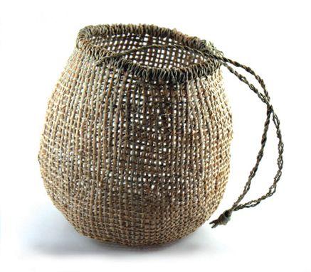 Colleen Mundy Tasmanian Aboriginal traditional twined basket, White Iris, 22x19cm
