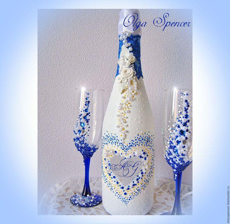 Купить Свадебное шампанское - Аист и кольца (синий) - синий, свадебные аксессуары, свадебное шампанское, шампанское