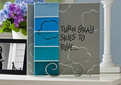 Click thru for the full #DIY tutorial for this Gray Skies Paint Chip Canvas @Michael Sullivan Stores #FolkArtMulti