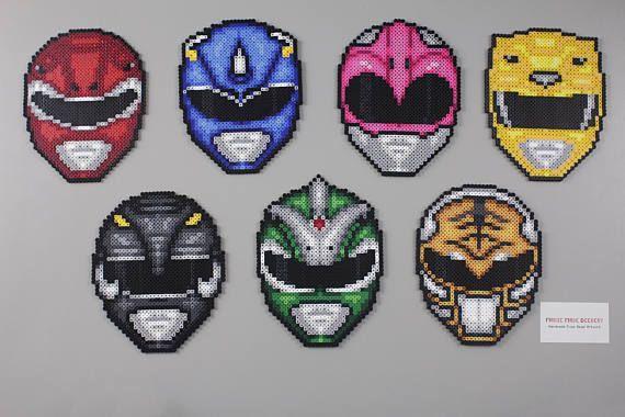 Perler and Artkal Fuse Bead Power Ranger Helmets inspired by