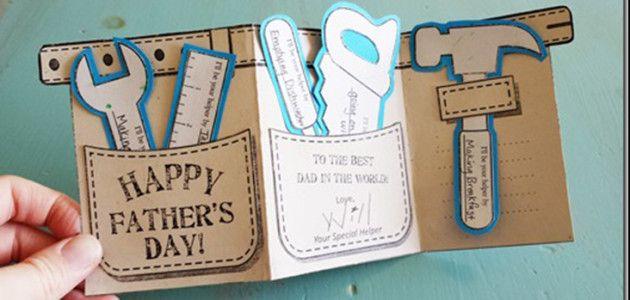 Tarjeta para felicitar el Día del Padre con forma de cinturón de herramientas