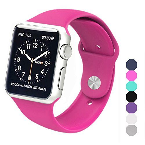 Sxciw Apple Watch Band Soft Silicone Sports Replacement Wristband for Apple Watch (Barbie pink 42mm-M/L)