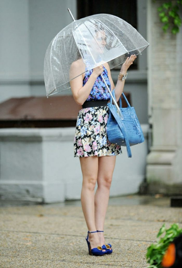 Durchsichtiger Regenschirm blau tasche