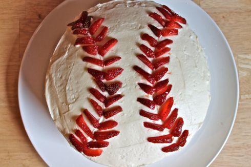 Vanilla & strawberry baseball cake