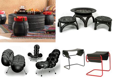 Used Tires: Recycled Tire Rubber Art and Design