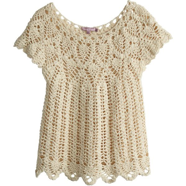 CALYPSO St. Barth Tafara Hand Crocheted Sweater ($275) ❤ liked on Polyvore featuring tops, sweaters, natural, pattern shirt, brown tops, calypso st barth sweater, macrame top and crochet shirt