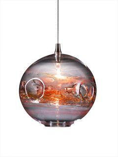 Amazing Fishbowl Glass Pendant Light, Red Multi   Contemporary   Pendant Lighting    By Ohr Lighting