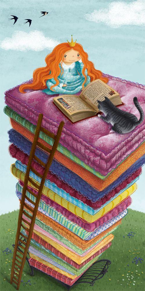Hay princesas que se desvelan, no por el guisante, sino por el interés en seguir la historia del libro. Princesas modernas y lectoras (ilustración de Barbara Cantini)