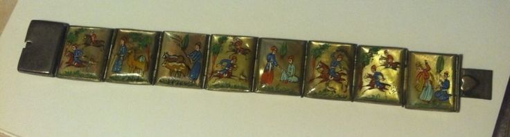 Antique Persian Hand Painted Story Bracelet w/Heart On Clasp Beautiful #Persian