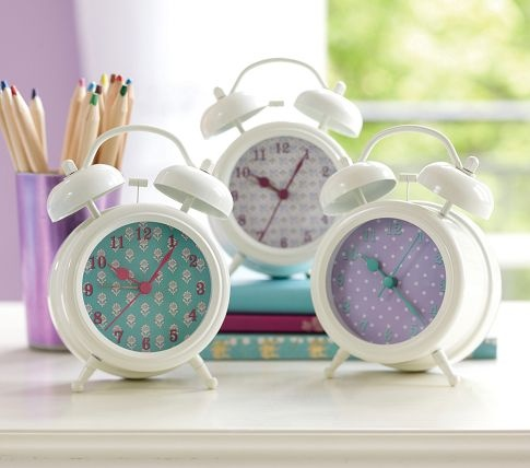 Turquoise & Lavender Retro Clocks | Pottery Barn Kids