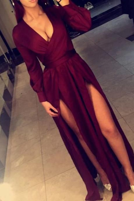 Deep V-neck Burgundy Evening Dresses 2017 Long Sleeve Sexy Prom Gowns with Splits