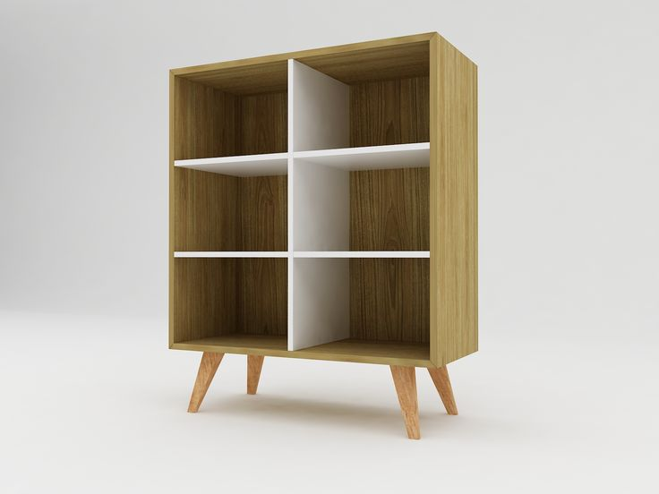 Minimalist modern furniture - Rak Buku Kayu Minimalis dengan Kaki Mahoni - White Elegant Teak