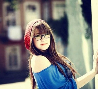 Long sleek hairstyle with bangs for Asian women