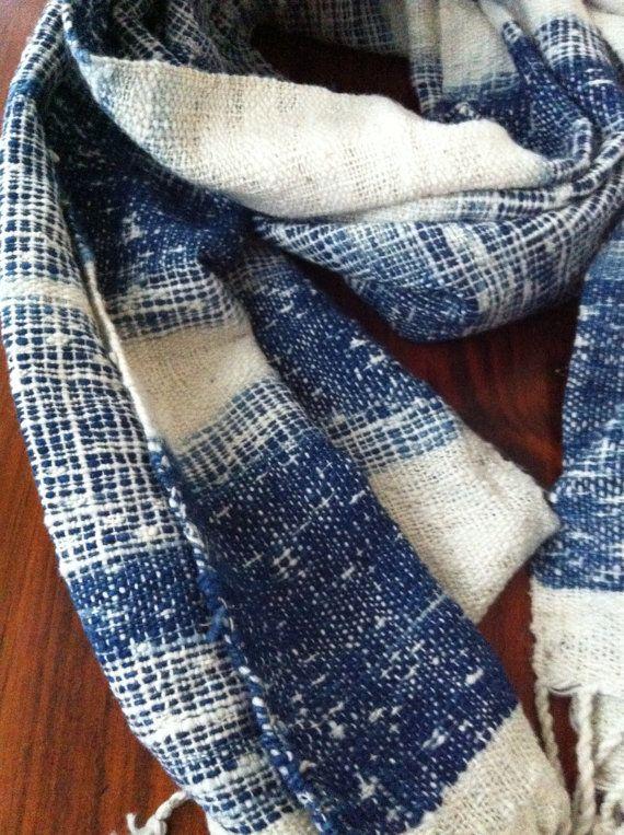 100% organic hand woven cotton scarf: Ikat indigo blue No.2 ( Water Flow pattern)