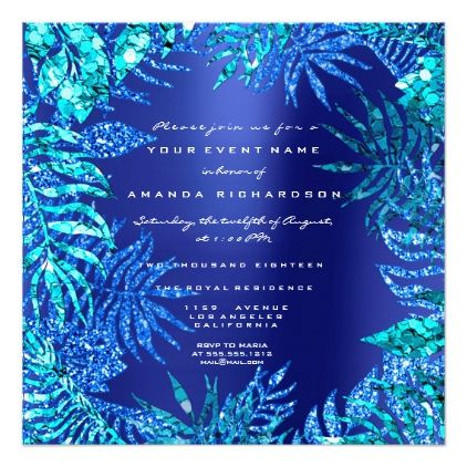 #Tropical Fern Leaf Ocean Blue Indigo Glitter Aqua Card - #beach #wedding #invitation #cards #ocean #party #idea #romantic
