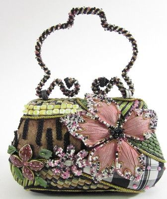 MARY FRANCES Beaded Floral Handbag