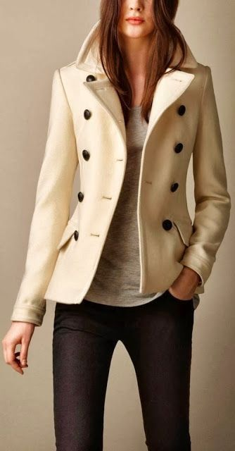 Stylish Cream Color Wool Coat