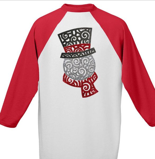 Snowman Raglan Shirt - Red Sleeve by Momonherown on Etsy https://www.etsy.com/listing/491657707/snowman-raglan-shirt-red-sleeve