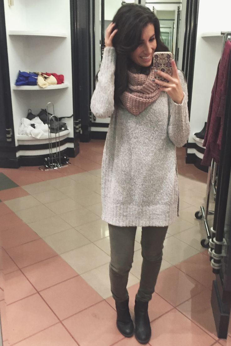 #knit #grey #kaki #pink #scarf #outfit #ootd #style #daily #casul #boots #selfie #pants #girly
