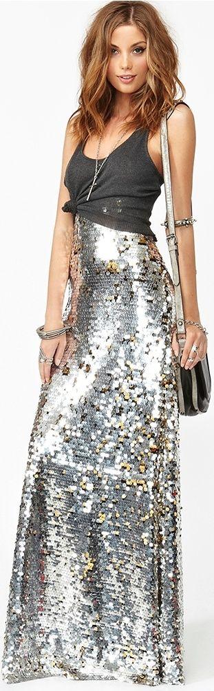 silver sequin maxi skirt - just needs a fancy flowy chiffon top