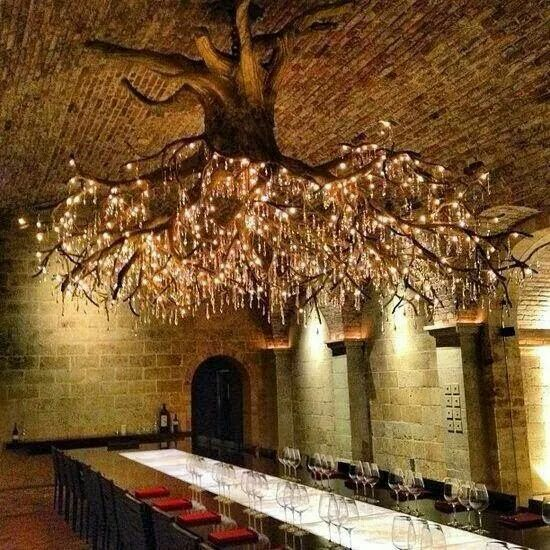 How amazing would this be in a restaurant? Tree chandelier Curated by http://theblueswoods.com/ Portraits of the #Blues Icons depicted on #reclaimed #wood