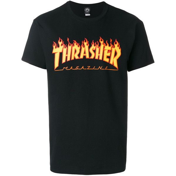 Thrasher flame T-shirt (175 MYR) ❤ liked on Polyvore featuring men's fashion, men's clothing, men's shirts, men's t-shirts, black, mens cotton shirts and mens cotton t shirts