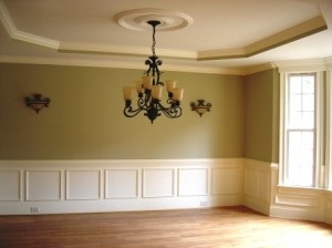 Wall panneling love this look with the tray ceiling and for Crown molding ideas for living room