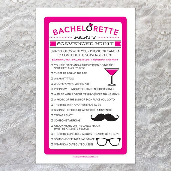 Instant Download - Bachelorette Scavenger Hunt - Bachelorette Party Game - DIY