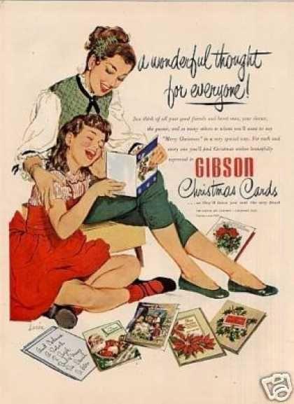 Gibson Christmas Cards Ad Lucia Art (1952)