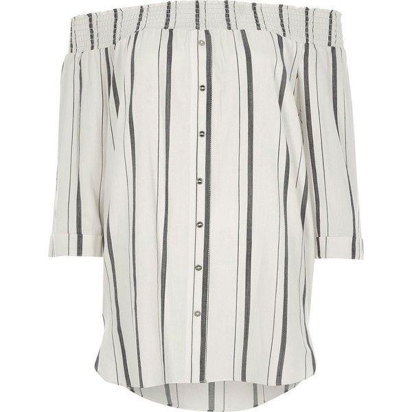 River Island White stripe print shirred bardot shirt (1,010 EGP) ❤ liked on Polyvore featuring tops, bardot / cold shoulder tops, white, women, cut out shoulder top, cold shoulder tops, loose white shirt, cold shoulder shirt and white 3 4 sleeve shirt