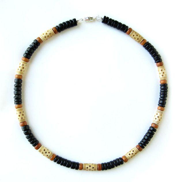 """Halsbanden - Kralen heren ketting, hout en bot - """"Moroc... - Een uniek product van jennyhoople op DaWanda"""