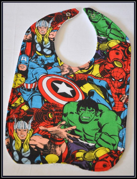 My child will have this: Terry Clothing, Cartoon Cotton, Cotton Bibs, White Terry, Geek A By Baby, Avengers Bibs, Avengers Cartoon, Comic Geek, Kid