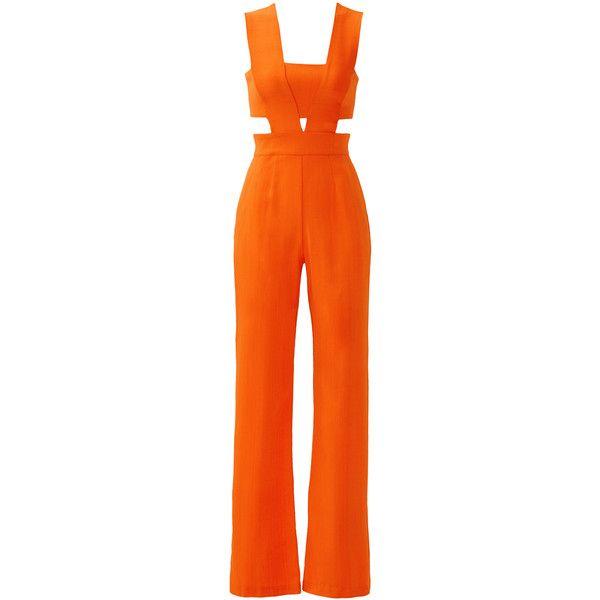 Rental Karina Grimaldi Tangerine Last Jumpsuit ($60) ❤ liked on Polyvore featuring jumpsuits, dresses, orange, jump suit, sleeveless jumpsuit, karina grimaldi, orange jumpsuit and orange jump suit