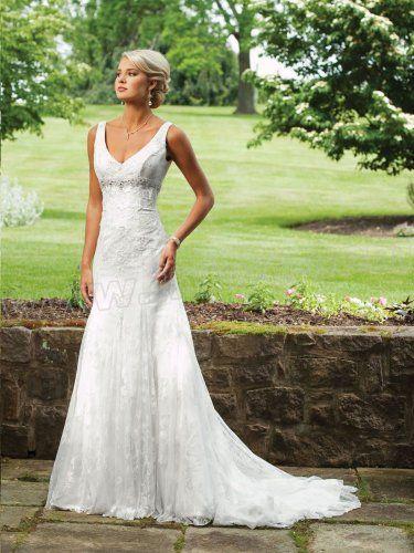 Chiffon Deep V-Neckline Sleeveless Lace Bodice Mermaid Wedding Dress
