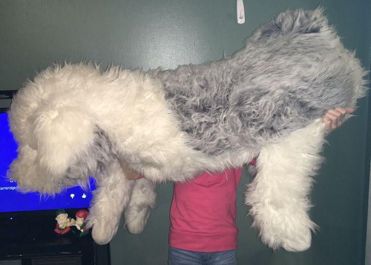 "Lifesize COSTCO Realistic Australian Sheep Dog Plush Stuffed Animal 54"" Sheepdog #Costco"