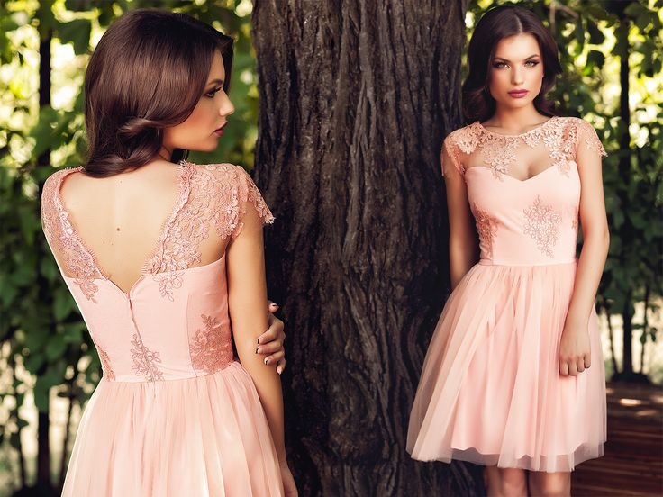 Short dress to wear to a wedding this summer, made from tulle and lace in shades of salmon.