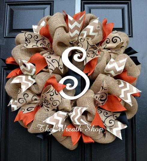 Fall and Halloween Burlap Wreath with rust orange, black and ivory chevron ribbons, and an ivory painted monogram