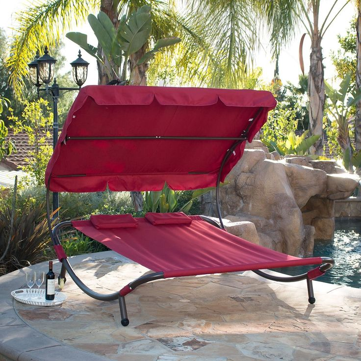 Belleze Swimming Pool Double Hammock Bed Sun Lounger Chaise Lounge Patio Outdoor, Burgundy, Red (Polyester), Patio Furniture