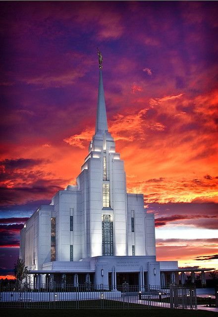 'Rexburg, Idaho Temple Sunset' - photo by Dan Packard (packarddaniel), via Flickr;  Temple of the Church of Jesus Christ of Latter-day Saints