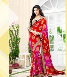 Buy multicolor printed georgette saree with blouse bandhani-sarees-bandhej online
