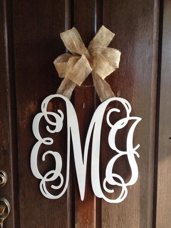 Customized 3 Initial Monogram Door Wall Hanger. $55.00, via Etsy.