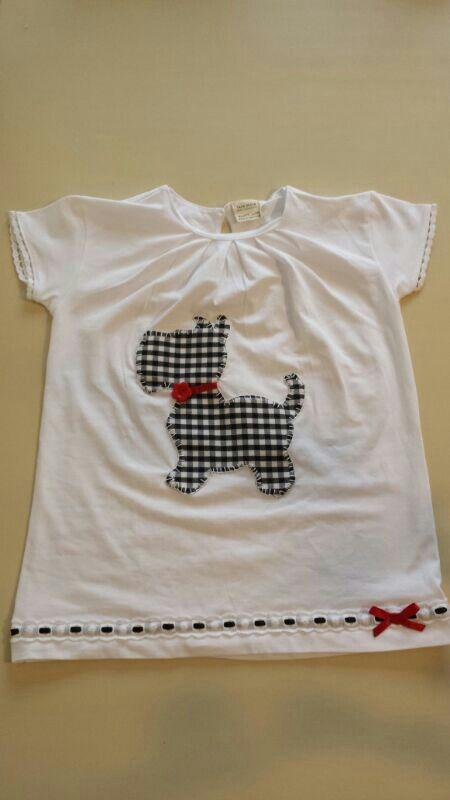 Camiseta patchwork perrito cuadros