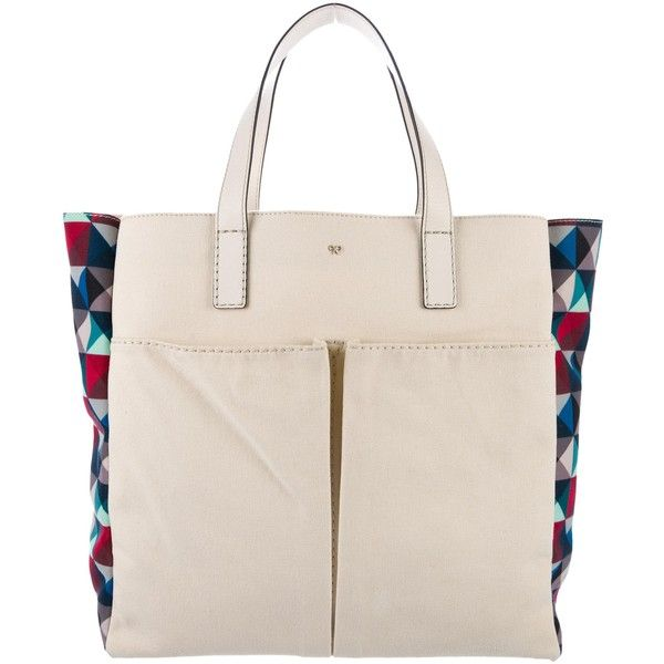 Pre-owned Anya Hindmarch Geometric Printed Canvas Tote ($95) ❤ liked on Polyvore featuring bags, handbags, tote bags, white, white tote bag, white canvas tote bag, woven tote, canvas tote bags and anya hindmarch tote