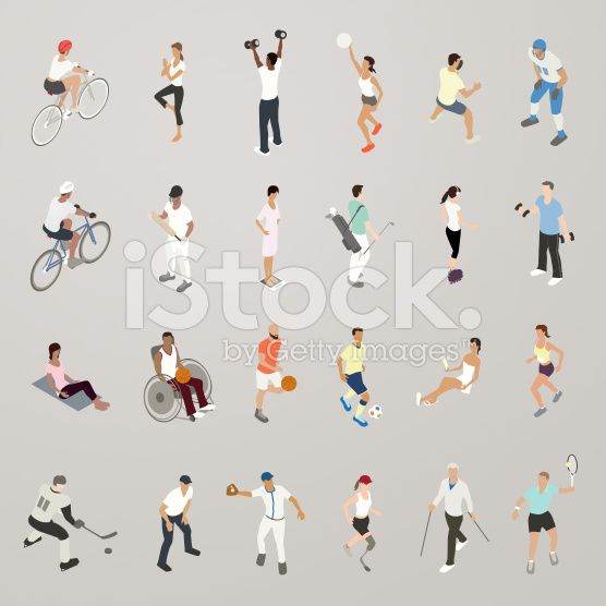 Sports and Fitness People - Flat Icons Illustration royalty-free stock vector art