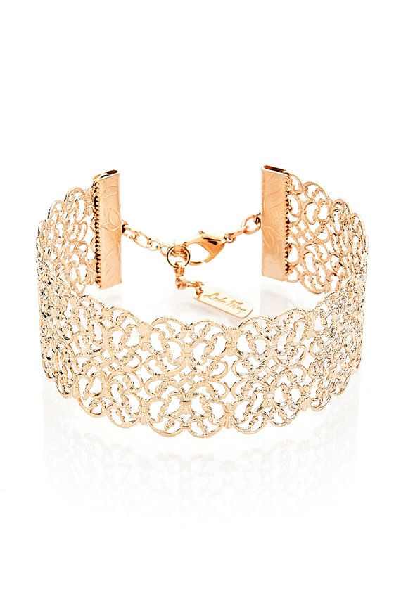 SALE Filigree Bracelet, Rose Gold Bracelet, Cuff Bracelet, Lace Bracelet, Bridal Bracelet, Band Bracelet, bridesmaids gift, Wedding Bracelet