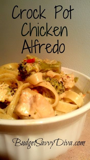 """Crock Pot Chicken Alfredo by BudgetSavvyDiva.com :::  Someone added  """"I do a block of cream cheese half cup butter 6oz parmesan 2cup milk and pepper & garlic salt to taste so amazing!!"""""""