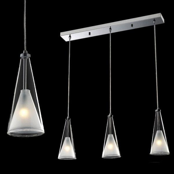 LAMPA wisząca BUTIO MD9190-3A Italux szklana OPRAWA halogenowa kielich dzwon bell biała