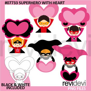 Clip art Superhero with heart set is great for love theme projects, such as for Valentine's day. This clipart collection features boys and girls superheroes.You will get 5 colored graphics and another 5 in black and white outline.Get similar set hereLink-Valentine Superhero Clip ArtGreat resource for any school and classroom projects such as for creating bulletin board, printable, worksheet, classroom decor, craft materials, activities and games, and for more educational and fun…