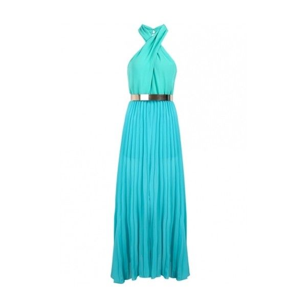 Cross Neck Side Slit Blue Chiffon Maxi Dress (73 BRL) ❤ liked on Polyvore featuring dresses, gowns, long dresses, blue evening gown, blue evening dresses, blue maxi dress and blue dress